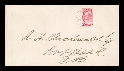 88C, 1899 2(c) Violet Port Hood handstamp surcharge on 23 of 3c Carmine, a single of this very rare provisional surcharge tied to an especially choice locally addressed cover, with a light but clear strike of Port HoodN.S.Ja 599 first da