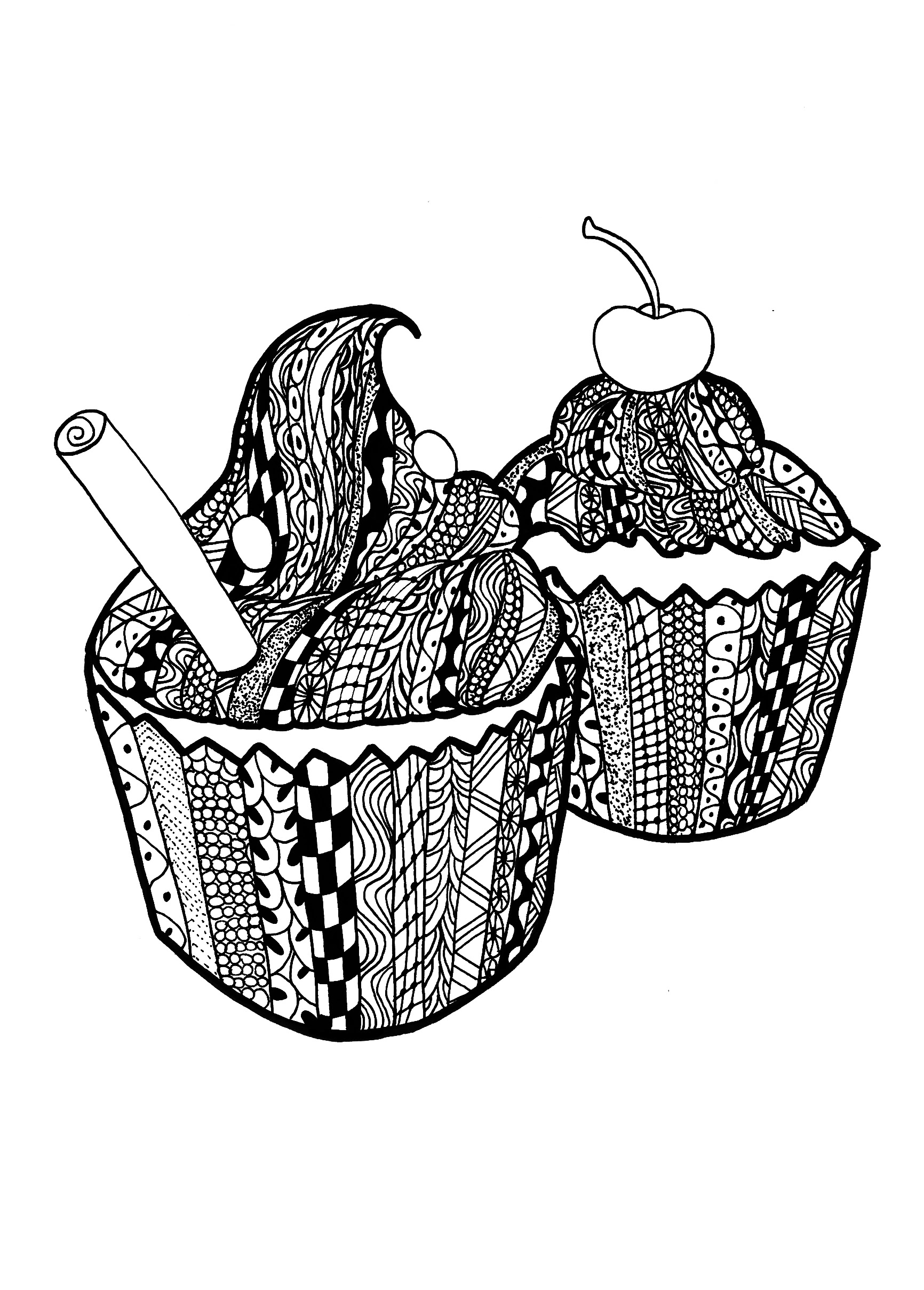 Coloring page adults zentangle cupcakes Celine