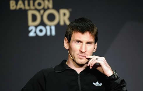 Lionel Messi thinking at FIFA Balon d'Or 2011-2012 awards ceremony