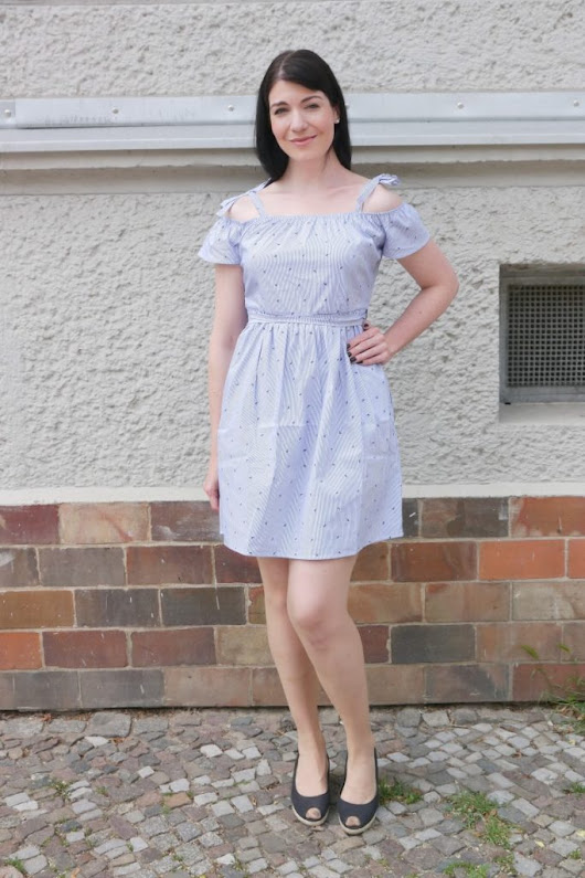 Summertime Blues with Striped Cold-Shoulder Dress – Caliope Couture