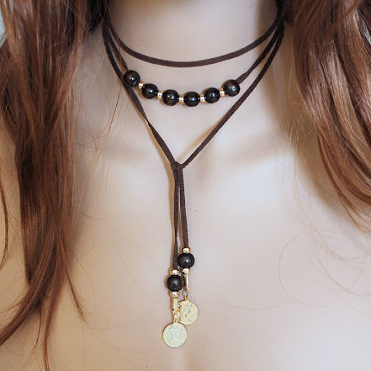Brown Suede Beaded Coin Lariat Necklace