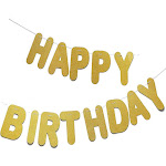 Gold Happy Birthday Banner, Large Pre-strung Glittery Letter Garland, Wall Backdrop for Party Supplies and Decoration, 10.5 feet Long