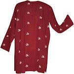 Kurta Shirt Om Symbol 100% Cotton Medium Burgundy