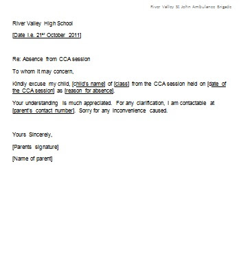 Excuse Letter For Absent In Work Letter