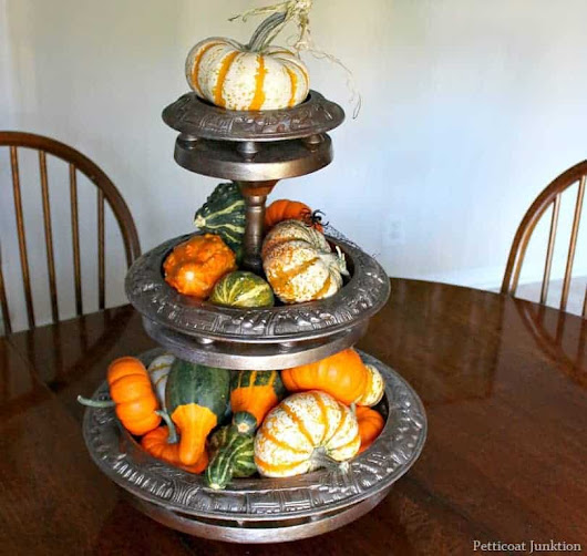 Tiered Wood Centerpiece Spray Painted With Metallic Paint
