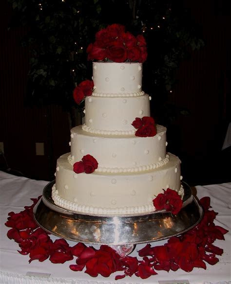 White Wedding Cake with Fresh Red Roses Frankfort, KY