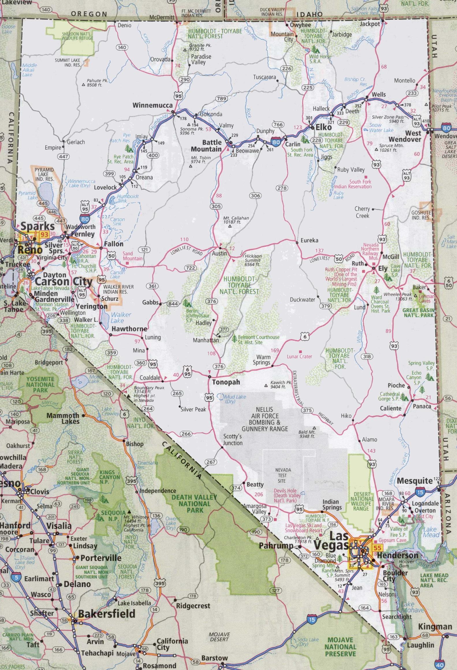 Nevada Road Map