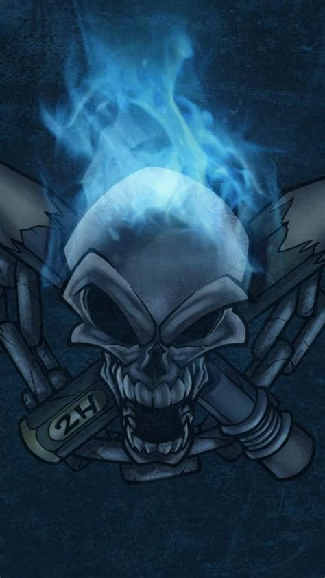 blue skull wallpaper  images