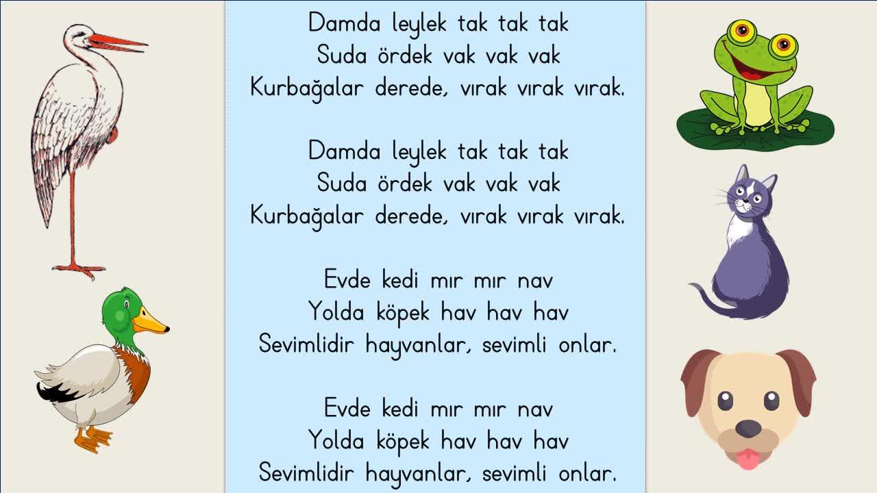1sınıf Hayvanlar Damda Leylek Tak Tak Tak şarkısı Ezberleme