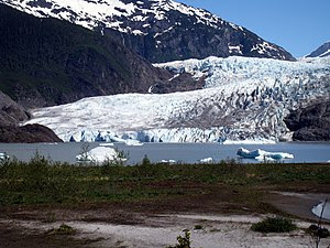The Mendenhall glacier, about 15 minutes outsi...