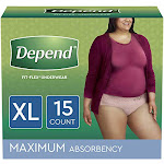 Depend Fit-flex Incontinence Underwear For Women Disposable 15 Count X-large