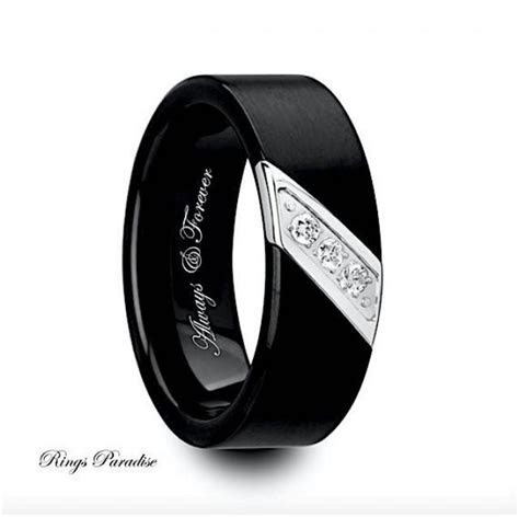 Mens Wedding Bands, Engagement Ring, Black Tungsten Ring