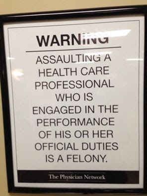 Assaulting a healthcare professional in Nebraska is a felony sign