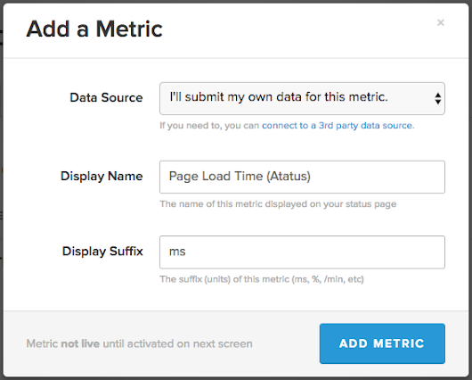 Sending Front-end Performance metrics from Atatus to StatusPage.io