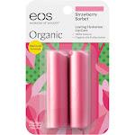 Eos Lip Balm, Strawberry Sorbet - 2 pack, 0.14 oz sticks