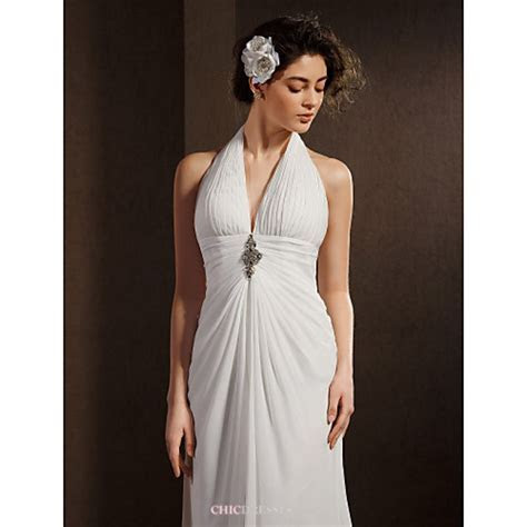 Sheath/Column Wedding Dress   Ivory Asymmetrical Halter