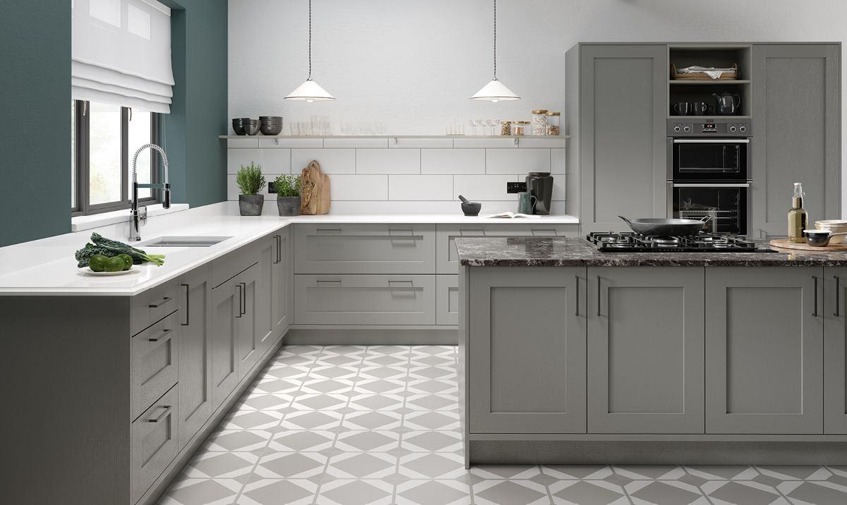 Küche Weiß Grau Kche Interieur In Wei Und Lizenzfreie ...