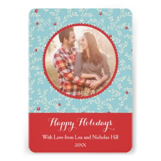 Modern Christmas Branches Pattern Photo Invitations