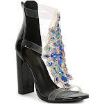 Womens Bejeweled Transparent Cage Chunky Heel Sandal
