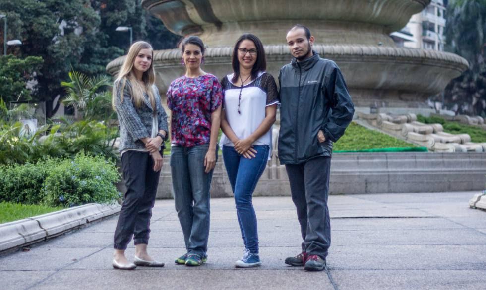 Anna Maier, Gabriela González, Johana Robles y Carlos Julio Rojas, en Caracas.