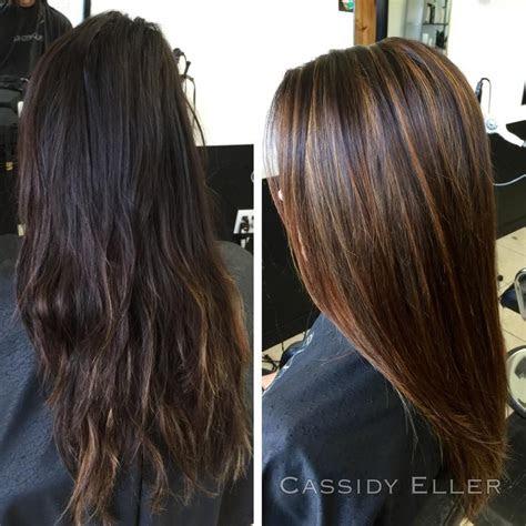 dark brown hair  caramel highlights