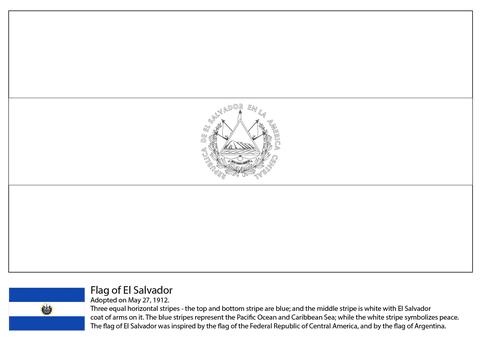 Dibujo De Bandera De El Salvador Para Colorear Dibujos Para