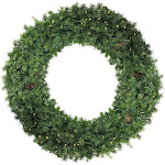 Northlight 6' Pre-Lit Dakota Red Pine Commercial Artificial Christmas Wreath - Warm White LED Lights