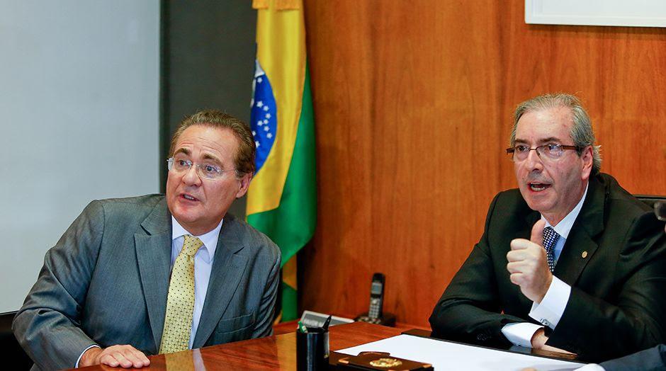 Nomes de Renan Calheiros (esq.) e Eduardo Cunha eram dados como certos na lista / Pedro Ladeira/Folhapress