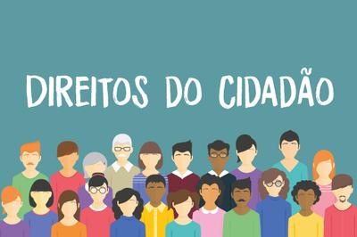 """Arte retangular, com fundo verde claro, a expressão """"Direitos do Cidadão"""" escrita em letras brancas e a representação, em forma de bonecos, de 22 pessoas, de diversas idades e raças, mostrando a diversidade da sociedade brasileira."""