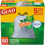 GLAD Tall Kitchen - Trash bag - drawstring - 13 gal - white - pack of 80