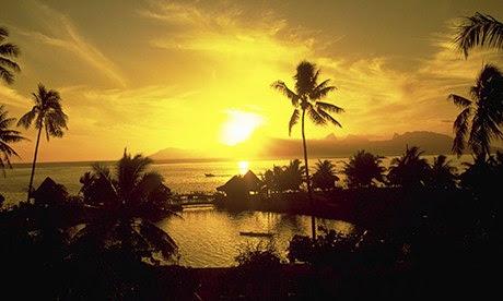 Bright Yellow Sunset French Polynesia