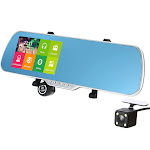 "5"" android 4.4 smart gps navigation car rearview mirror dvr with rearview camera"