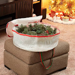 Household Essentials Christmas Wreath Storage Bag with Handles and Reusable Label White 24-Inch