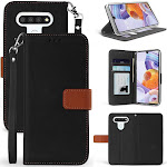 LG K51 Phone Case, [Black/Brown] Infolio Wallet Credit Card Slot Cover, View Stand [Magnetic Closure, Lanyard] for LG K51, LG Reflect L555DL, LG Q51