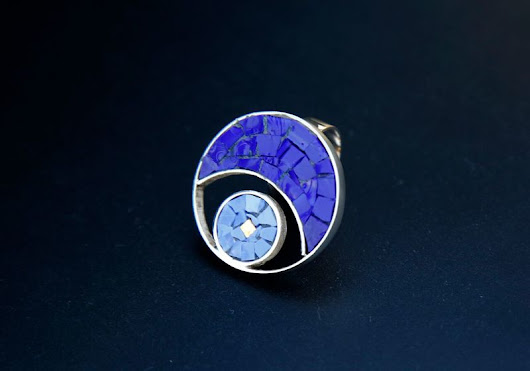 Blue Moon GLASS MOSAIC SILVER RING