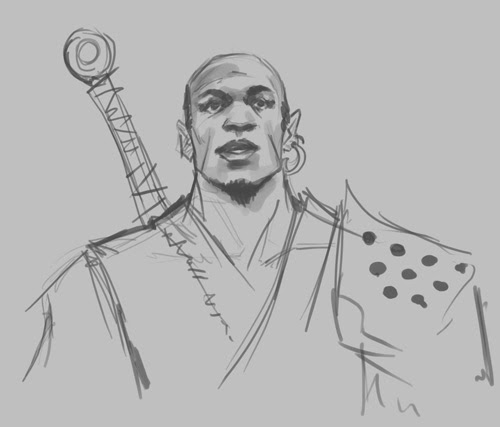 concept, drawing, sketch, how to, tutorial, face, warrior, man, head, fantasy, comics, manga