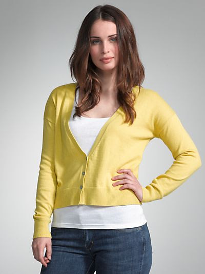 John Lewis Deep V-Neck Cardigan in Yellow