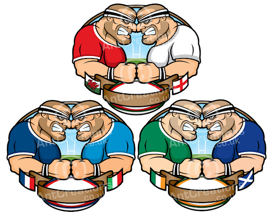 30x Illustrations - ALL 6 Nations Teams vs one another
