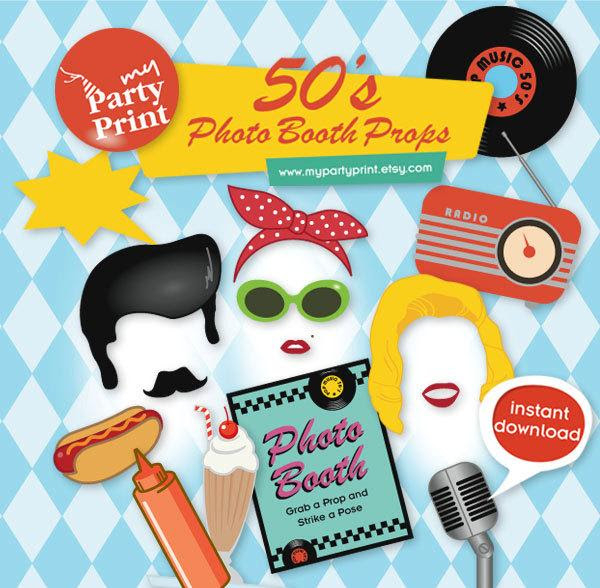 50s Party Printables Photo Booth Props With Digital Mustache Lips