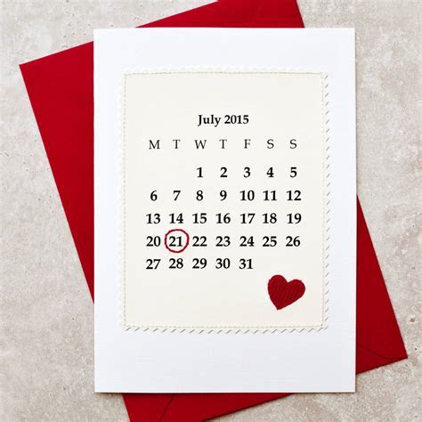 'calendar' personalised date anniversary card by jenny