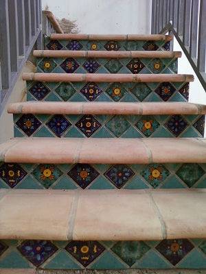 Stair Riser Tile Idea using Different Patterns on Point