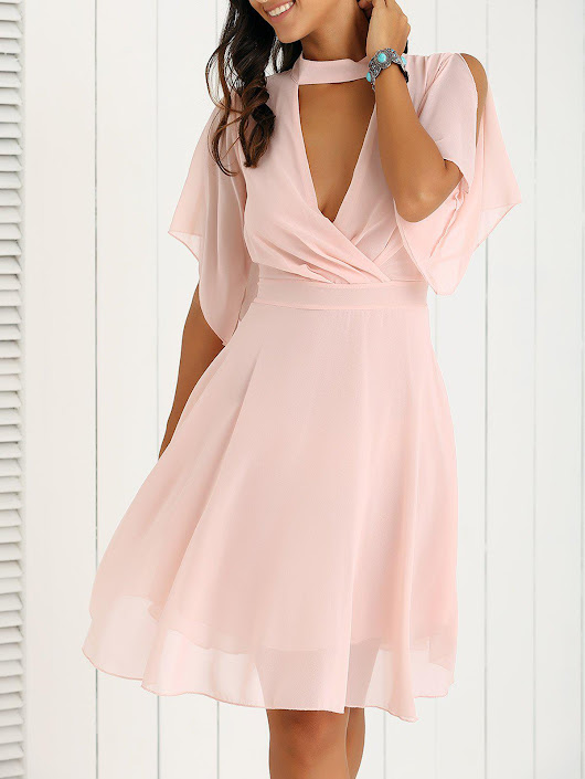 Petal Sleeve Knee Length Chiffon Pastel Pleated Dress