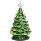 Best Choice Products 15in Ceramic Tabletop Christmas Tree w/ MultiColored Lights - Green