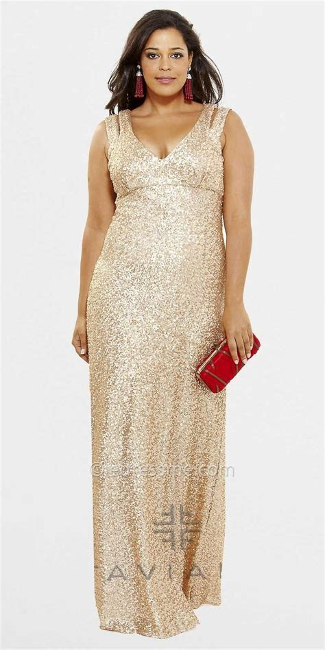 2015 Plus Size Formal Prom Evening Dress Sheer Gold Sequin