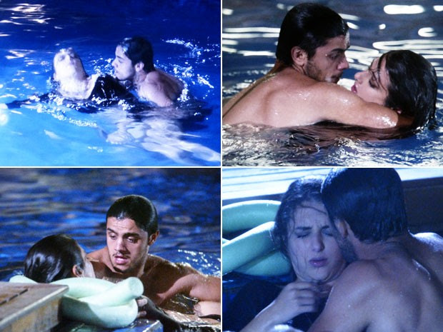 Cobra se desespera ao ver Jade no fundo da piscina e se joga para salvá-la (Foto: TV Globo)