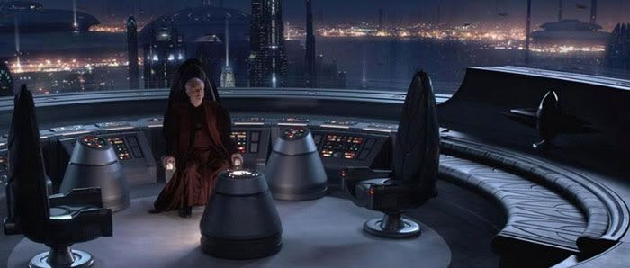 Chancellor Palpatine turns to see who his new arrivals are.