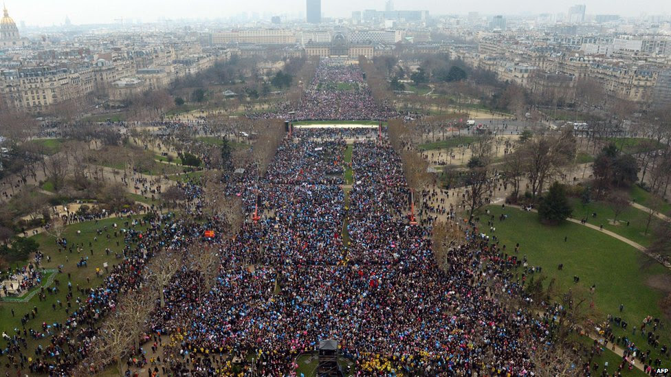 People gather to protest against same-sex marriage on January 13, 2013 on the Champs de Mars in Paris