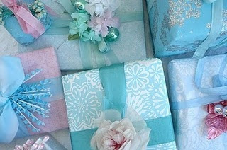 blue, bow, christmas, flower, gift, pink