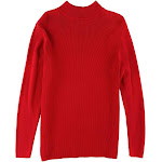 Karen Scott Womens Solid Ribbed Pullover Sweater, Red, 0X