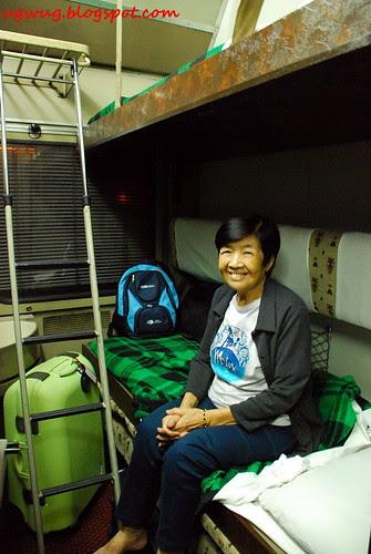 Happy Mom on sleeper train to Aswan